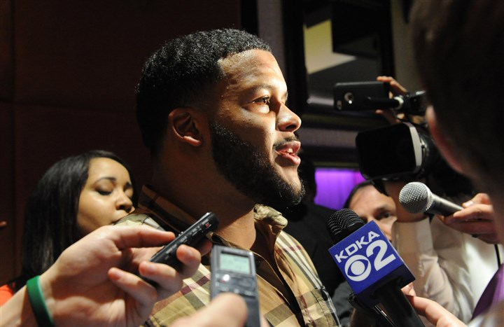 20140508JHLocalDonald04 University of Pittsburgh defensive tackle Aaron Donald holds a news conference at Savoy Restaurant in the Strip District after he was picked 13th in the NFL Draft by St. Louis.
