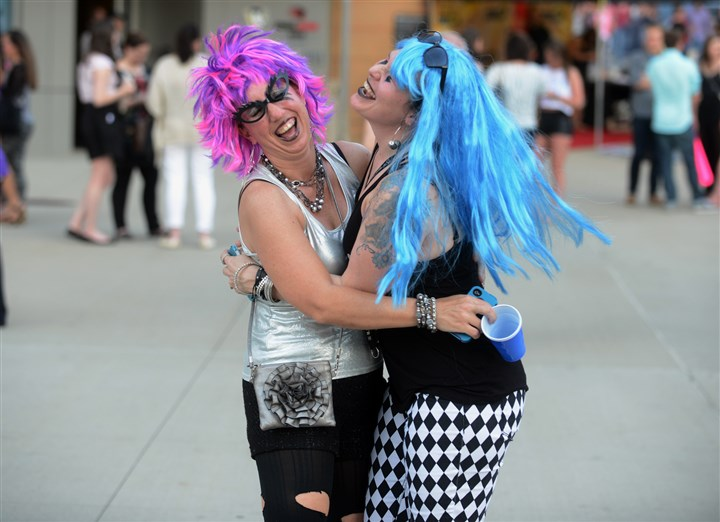 20140508bwGagaMag02-1 Sisters Julie Stovarsky, 40, left, and Jennifer Matyas, 43, of Toronto, Ohio, dressed as Lady Gaga for her concert Thursday night at Consol Energy Center.