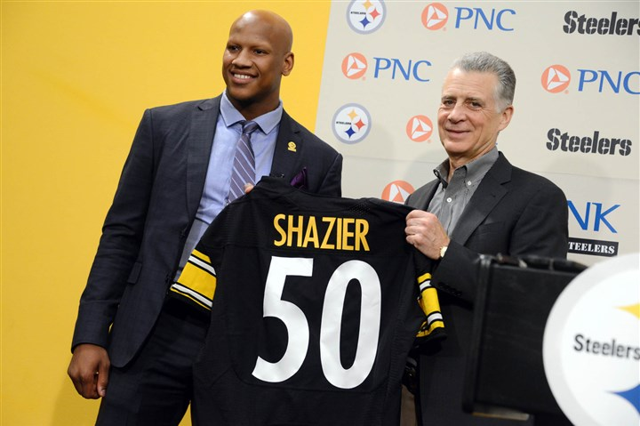 20140509MWHshazierSports02-1 Ryan Shazier, the Steelers' first-round draft pick, is introduced at a press conference by Steelers president Art Rooney II at their South Side facility.