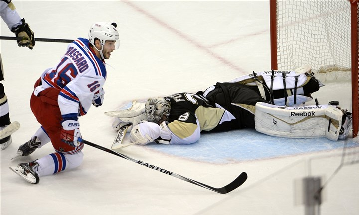 Penguins goaltender Marc-Andre Fleury Penguins goaltender Marc-Andre Fleury can't stop a shot by the Rangers' Derick Brassard in the second period Friday at Consol Energy Center. Brassard scored twice as the Rangers made the series 3-2.