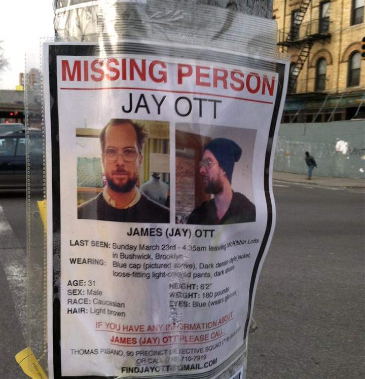 A missing poster for Jay Ott  A missing poster for Jay Ott on a electric pole in Brooklyn, NY.