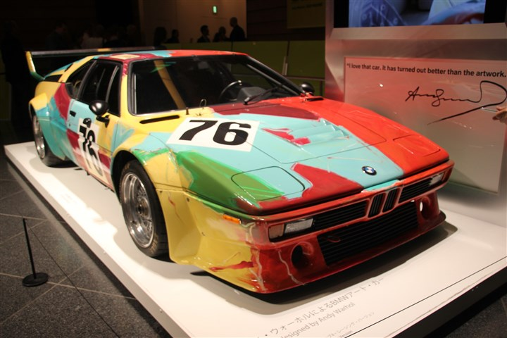 BMW designed by Andy Warhol The BMW designed by Andy Warhol that ran in the Le Mans Race at the Mori Art Museum, Tokyo, Japan.