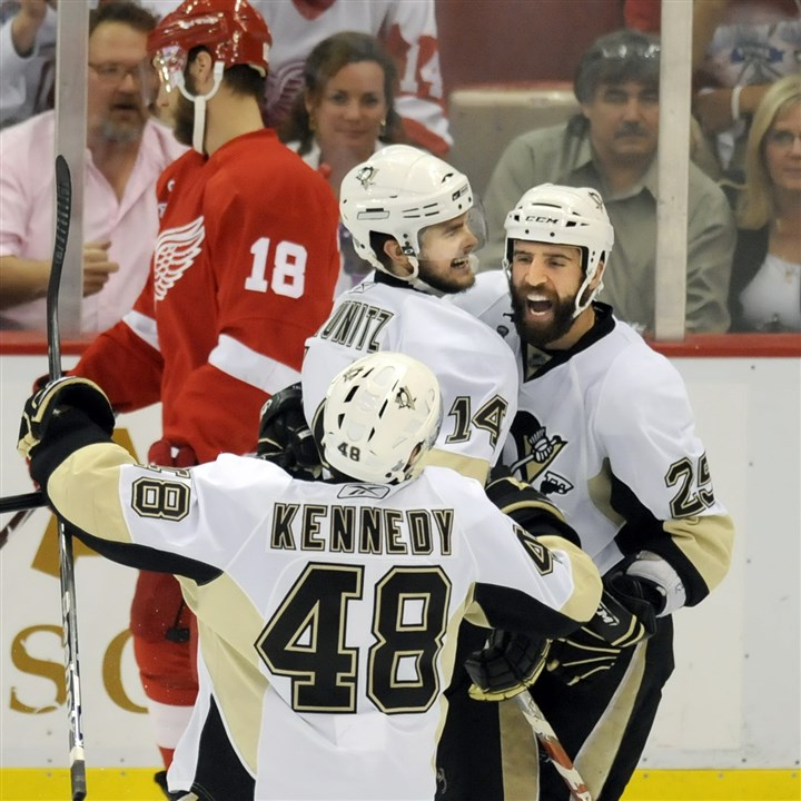 Maxime Talbot Maxime Talbot is congratulated by teammates Chris Kunitz and Tyler Kennedy after scoring against the Red Wings in the second period of game 7 of the Stanley Cup final Friday, June 12, 2009.