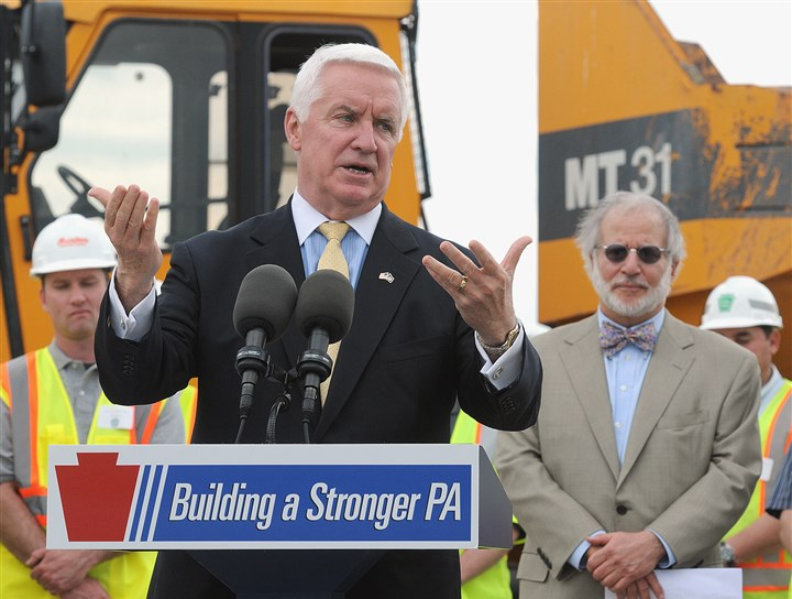 20140512radSouthernBeltwayLocal04-13 Gov. Tom Corbett is joined by Pennsylvania Turnpike Commission Chairman William Lieberman, right, at the ceremonial groundbreaking for the Southern Beltway.