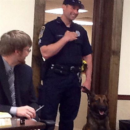 Nevo North Fayette police dog, Nevo, and his handler, Cpl. Todd Heufelder.