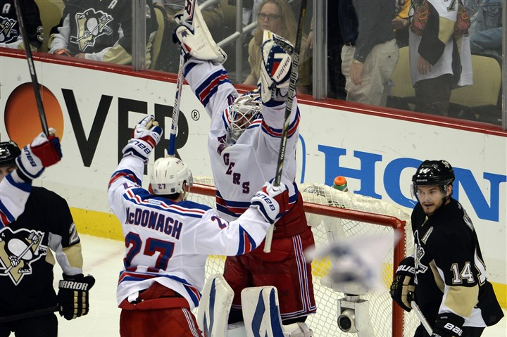 20140513mfpenssports11 Rangers goaltender Henrik Lundqvist celebrates at the buzzer after defeating the Penguins, 2-1, in Game 7 of the Eastern Conference semifinals at Consol Energy Center tonight.
