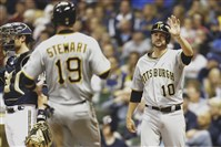 Jordy Mercer (right) celebrates with Chris Stewart after scoring a run against the Brewers in May at Miller Park.