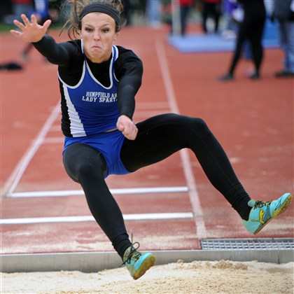 Maddie Holmberg Hempfield junior Maddie Holmberg shown here competing in the long jump at the Baldwin Invitational earlier this month.