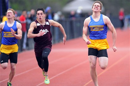 20140502JHSportsTrack01.jpg Mt. Lebanon's Troy Apke, right, wins the 100-meter dash at the Baldwin Invitational ahead of Ambridge's Isaac Elliott, center, and teammate Jacob Rolfsen.