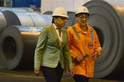 U.S. Commerce Secretary Penny Pritzker and Amy Smith-Yoder U.S. Commerce Secretary Penny Pritzker toured U.S. Steel's Irvin plant in West Mifflin today with U.S. Steel president and plant manager Amy Smith-Yoder.
