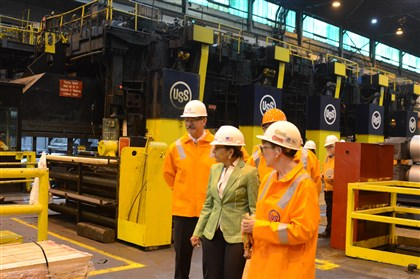 U.S. Commerce Secretary tours U.S. Steels Irwin Plant U.S. Commerce Secretary Penny Pritzker, center, toured U.S. Steel's Irvin plant in West Mifflin today with U.S. Steel president and CEO Mario Longhi, left and plant manager Amy Smith-Yoder, right.