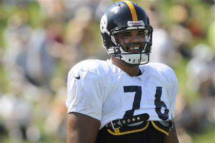Steelers offensive tackle Mike Adams Steelers offensive tackle Mike Adams during practice at St. Vincent College in Latrobe on Tuesday, August 7, 2012.