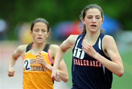Shaler's Brianna Schwartz and North Allegheny's Madeleine Davison Shaler's Brianna Schwartz finishes the 1,600-meter run ahead of North Allegheny's Madeleine Davison to win the WPIAL championship with a time of 4 minutes, 45.19 seconds.