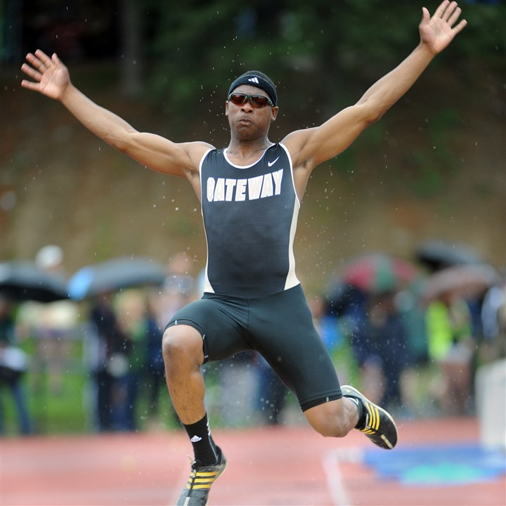 nicholson0516 Gateway's Montae Nicholson competes in the WPIAL Boys AAA long jump Thursday at Baldwin.