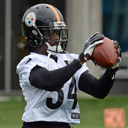 20140516mfsteelerssports09-7 Dri Archer pulls in a pass during a rookie camp in May.