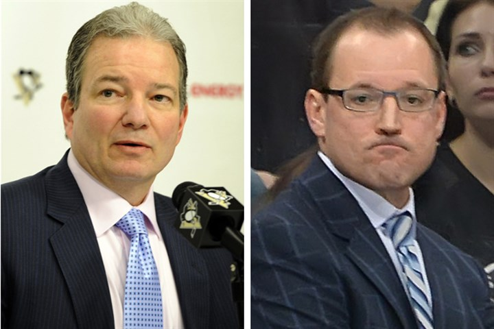 Penguins leadership Penguins former GM Ray Shero (l) and head coach Dan Bylsma.