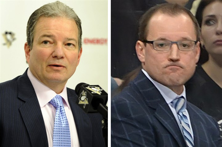 Penguins leadership Penguins general manager Ray Shero (l) and Penguins head coach Dan Bylsma.