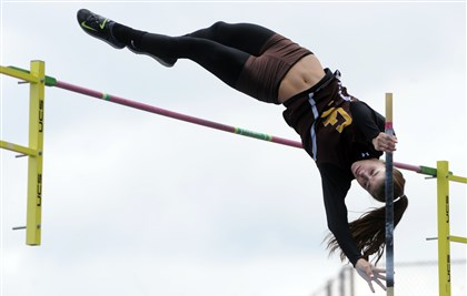 20140517ppWpialTrack3SPORTS-18 Greensburg Salem's Courtney McQuaide clears the bar and wins the Class AAA girls pole vault at the WPIAL Championships at Baldwin High School.