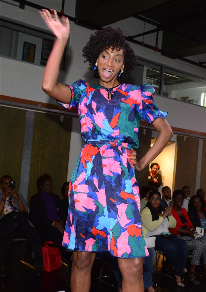 Regina Lovelace on the runway, International Natural Hair Meetup Day Regina Lovelace of Penn Hills on the runway during International Natural Hair Meetup Day festivities on Saturday at The Alloy Studios.