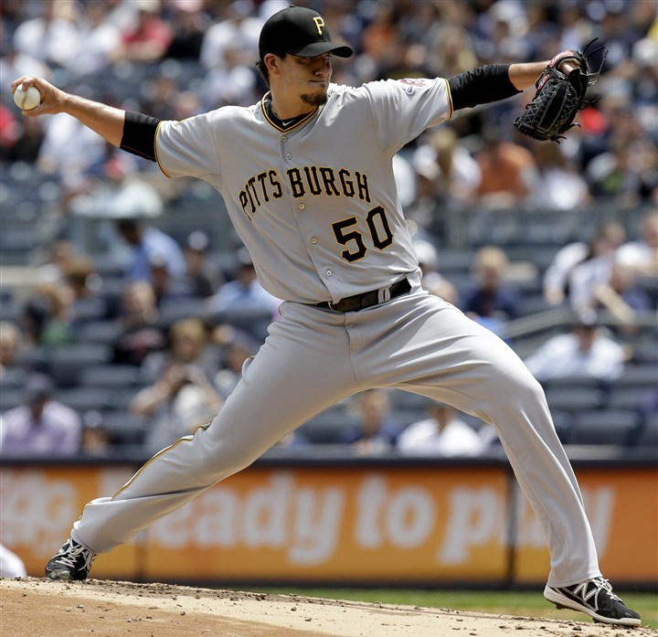 Pirates Yankees Baseball  The Pirates' starting pitcher Charlie Morton throws during the first inning of the first baseball game of a double-header against the New York Yankees at Yankee Stadium.
