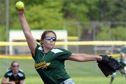 20140519mffoxsports01 Penn-Trafford's Frankie Ponziani pitches in a win against Plum at Fox Chapel.