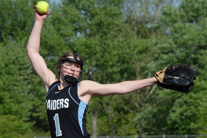 20140519mffoxsports07-4 Seneca Valley's Nikki Matz pitches against Latrobe on Monday afternoon in Fox Chapel.