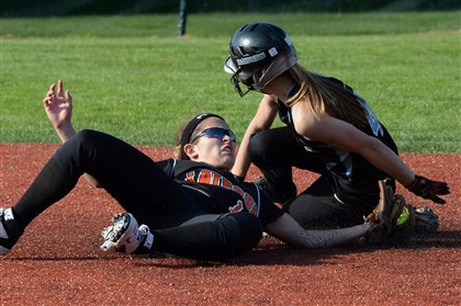 20140519mffoxsports10-7 Seneca Valley's Jess Neill gets into second base safely in front of a tag by Latrobe's Maddie Stein on Monday afternoon in Fox Chapel. Latrobe won, 3-2.