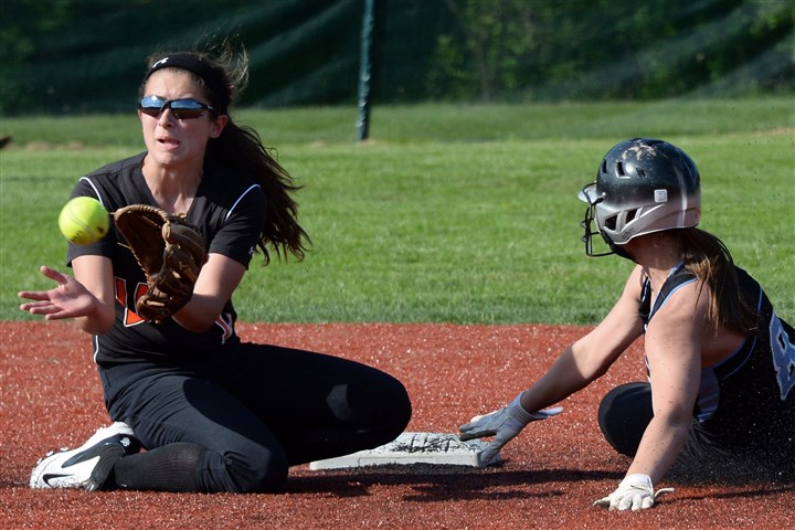 20140519mffoxsports08-5 Latrobe's Maddie Stein tries to force out Seneca Valley's Alexa Sisko at second base Monday afternoon in Fox Chapel.