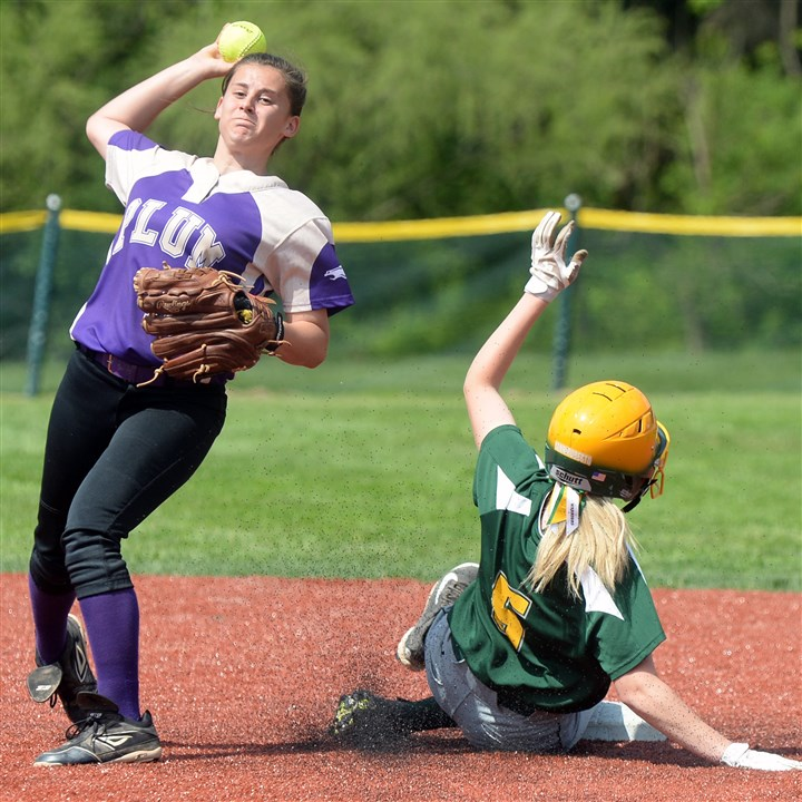 20140519mffoxsports03 Plum's Michaela Palmieri throws after forcing Penn-Trafford's Ashley Yanniruberto out at second base Monday afternoon in Fox Chapel.