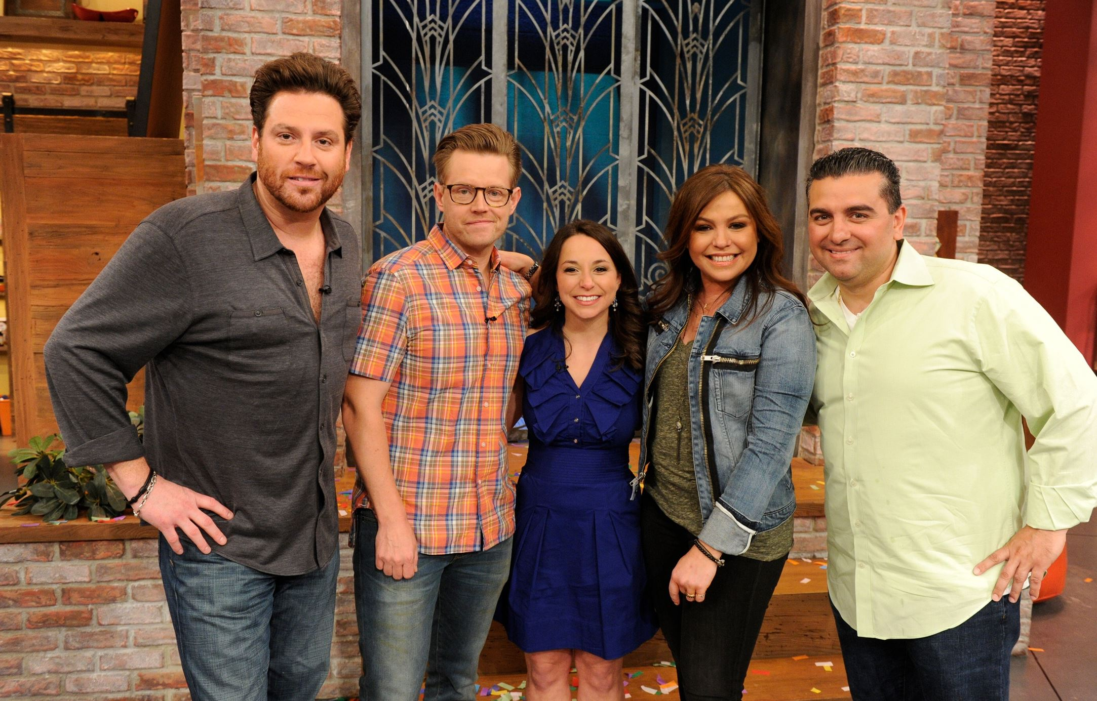 "20140519hoKudlawiecfood Ebensburg's Lauren Kudlawiec was the runner-upon ""The Rachael Ray Show,"" where finalists's to be ""The Next Rachael Ray"" had their recipes tested by celebrity chefs Scott Conant (far left), Richard Blais (next to him) and Buddy Valastro (far right, next to Ms Ray)."