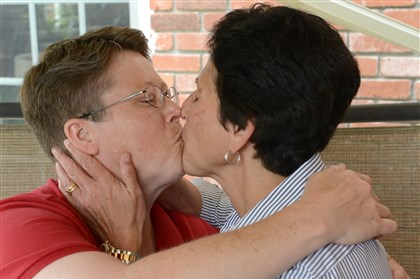 Whitewood couple after Pa. ruling Deb and Susan Whitewood of South Fayette celebrate after a federal judge ruled unconstitutional Pennsylvania's ban on same-sex marriage. The Whitewoods were part of the original suit challenging the state's Defense of Marriage Act.