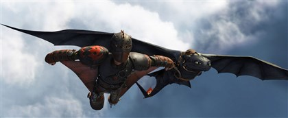"20140522HODragon2 Hiccup (Jay Baruchel) and Toothless do some fancy flying in ""How to Train Your Dragon 2."""