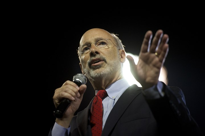 Wolf0521a Democratic candidate for Pennsylvania Governor Tom Wolf takes the stage at his primary election night party in Santander Stadium in York.