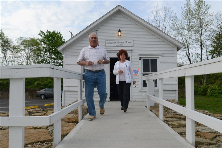 First voters at Simpson Voting House in Derry Township Francis and Nancy Disciascio were the first voters to cast ballots for Pennsylvania's primary election at the Simpson Voting House in Derry Township, Westmoreland County, Tuesday morning.