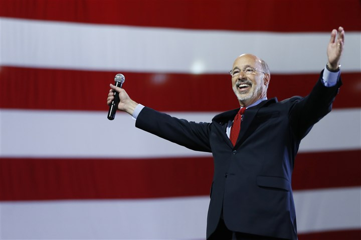 Pennsylvania Governor Democrats  Pennsylvania Democratic gubernatorial nominee Tom Wolf gestures as he speaks to supporters during a primary election night watch party Tuesday in York.