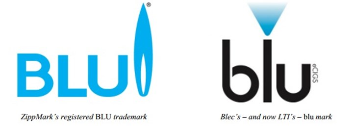 "Zippo's and Lorrilard's trademarked logos.  Zippo claims that the two ""BLU"" trademarks are too similar."