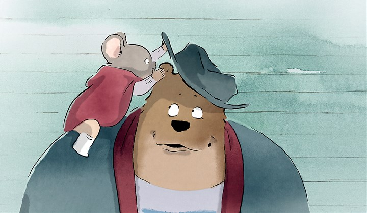 "20140523ErnestCelestine Ernest whispers into Celestine's ear in the wonderfully animated film ""Ernest and Celestine."""