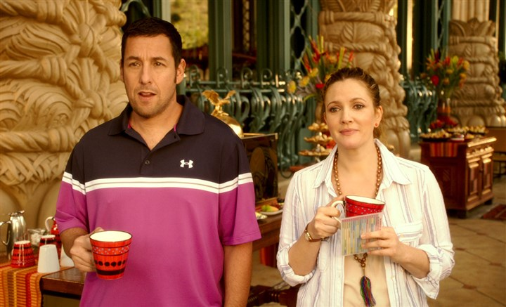 "20140523Blended3 Adam Sandler and Drew Barrymore star in ""Blended."""