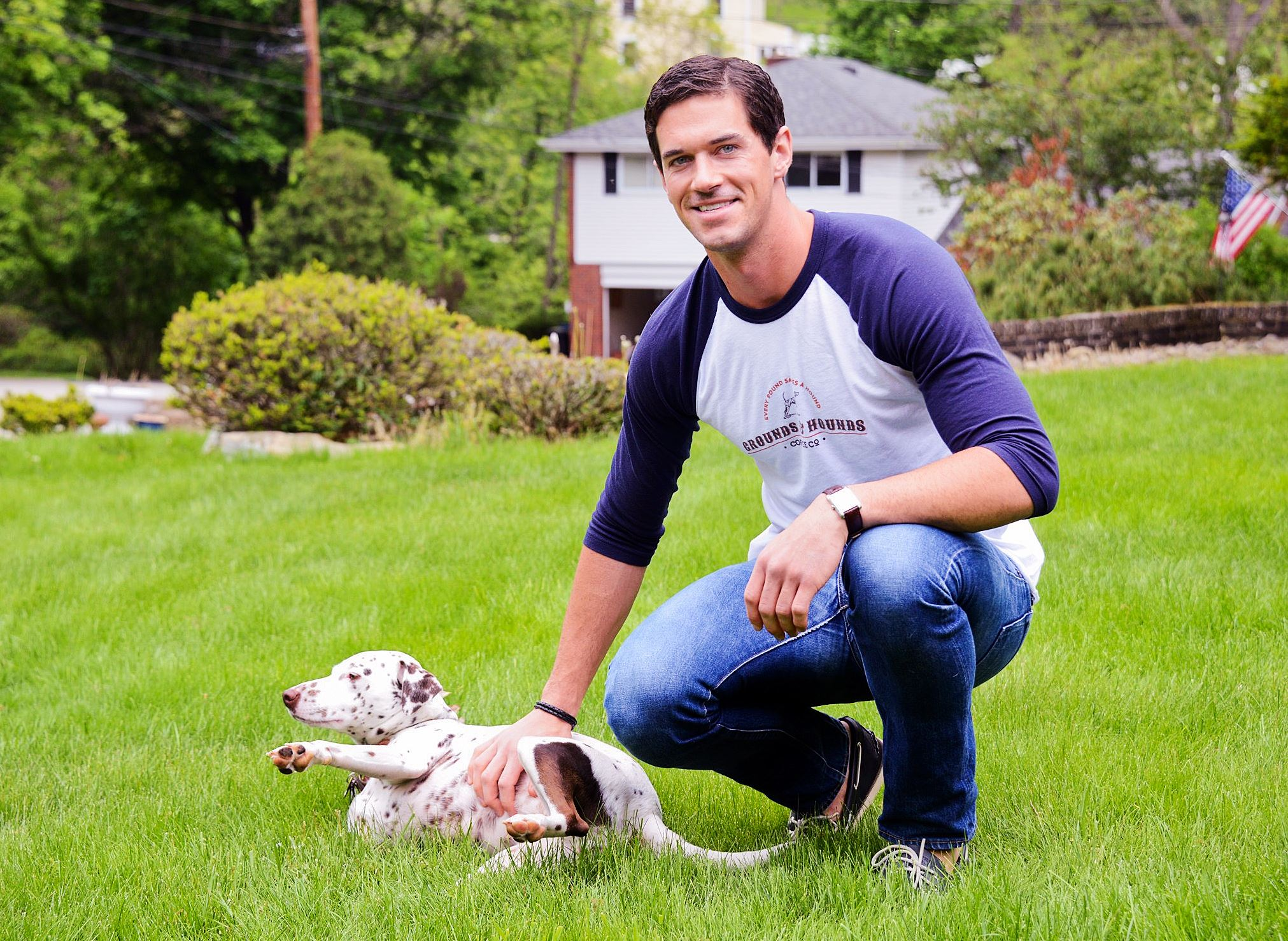 20140520CoffeeMag01 Jordan Karcher with his dog, a Dalmatian mix named Molly.