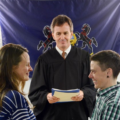 Judge Hugh McGough Pamela VanHaitsma, left, and Jess Garrity, right, of Friendship, are married before District Judge Hugh McGough at his Squirrel Hill office on May 21, 2014, becoming the first same-sex couple to legally wed in Pennsylvania.
