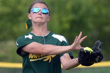 20140519mffoxsports05.jpg Penn-Trafford's Cassie Surmacz pulls in a fly ball in the Warriors' 6-2 victory against Plum Monday afternoon at Fox Chapel. That win advanced Penn-Trafford to the WPIAL semifinals.