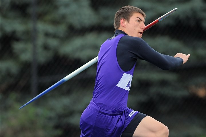 9ek00kke.jpg Baldwin 's Luke Smorey threw the javelin 193 feet, 1 inch to win the WPIAL Class AAA championship.