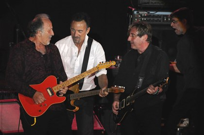 "20140522bwJoeMag03 Joe Grushecky, left, Bruce Springsteen, and Danny Gochnour of the Houserockers, perform the Grushecky song, ""Never Be Enough Time."""