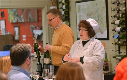 Dearheart teaching Carol Pascuzzi, right, teaches wine and food pairings at Dreadnought Wines in the Strip District earlier this year.