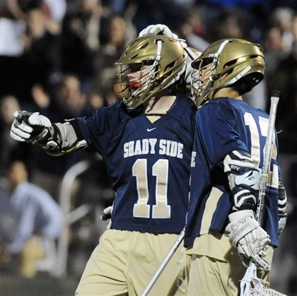 20140523bwSSAspts01-7 Shady Side Academy's Dan Marous, left, celebrates with Max Jaffe after scoring Friday against Mt. Lebanon in the WPIAL Division I boys lacrosse championship at Highmark Stadium.