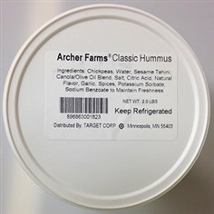 Archer Farms Classic Hummus Photo courtesy of the FDA Archer Farms Classic Hummus. It is among the brands part of a voluntary recall.