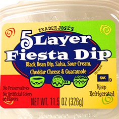 Trader Joe's 5 Layer Fiesta Dip Photo courtesy of FDA Trader Joe's 5 Layer Fiesta Dip. It is part of the voluntary recall.