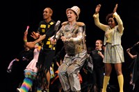 "The 2014 Gene Kelly Awards' best actress winner, Marnie Quick of Pittsburgh Obama, center, playing the Tinman in ""The Wiz"" last year, was nominated again in 2015 for ""SHOUT! The Mod Musical,"" the 25th year of the Allegheny County high school musical awards program."