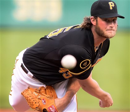 201405024pdPiratesSports01 Pirates pitcher Gerrit Cole delivers against the Nationals May 24 at PNC Park.