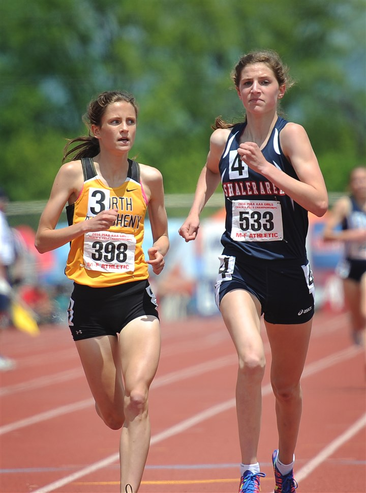 schwartz0525 Madeline Davison of North Allegheny (left) eyes Brianna Schwartz of Shaler as they compete in the girls AAA 1600-meter run Saturday in the PIAA track and field championships at Shippensburg University in Shippensburg, Pa. Schwartz took first place but did not beat a state record as expect while Davison took second.
